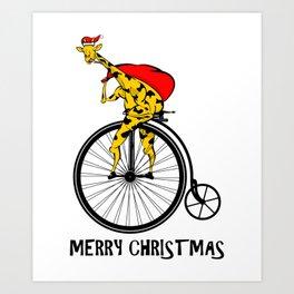Giraffe on a bike Santa Claus Art Print