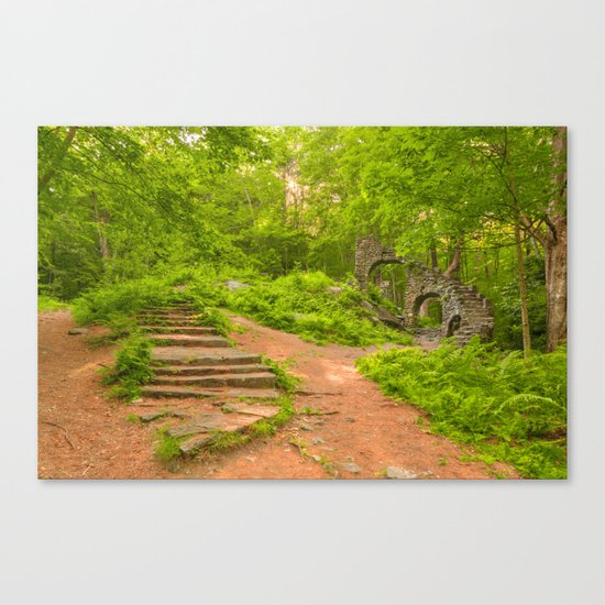 Sun Kissed Forest Castle Ruins Canvas Print