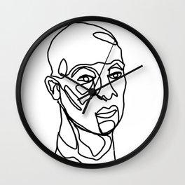 Contemplation  - Man's Face, Line Drawn Wall Clock
