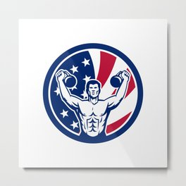 American Physical Fitness USA Flag Icon Metal Print