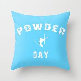 Powder Day Light Blue Throw Pillow