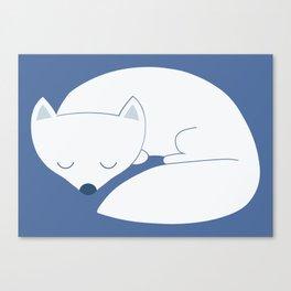 Sleeping white fox Canvas Print