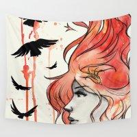phoenix Wall Tapestries featuring Phoenix by Sah Matsui