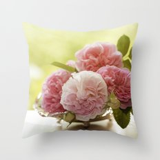 Pink Roses in a silver bowl- Vintage Rose Stilllife Photography Throw Pillow