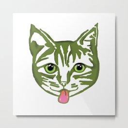 Mollycat Green Metal Print