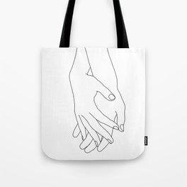 Holding hands illustration - Elana White Tote Bag