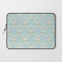 Heart Damask Ptn Gold Cream Blue Laptop Sleeve