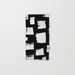 Marshmallows: a minimal abstract black and white square mudcloth pattern by Alyssa Hamilton Art Hand & Bath Towel