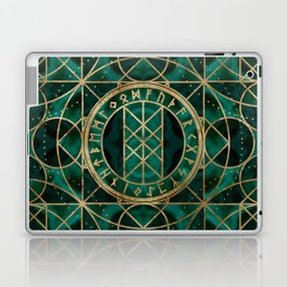 Web of Wyrd The Matrix of Fate - Gold and Malachite Laptop & iPad Skin