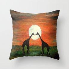 Full Moon Giraffe Love-Inspired by TaLins!!! Throw Pillow