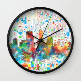 indianapolis city skyline watercolor 6 Wall Clock