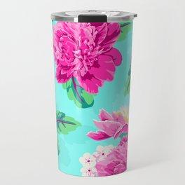 Bright Flowers Pretty Peonies Travel Mug