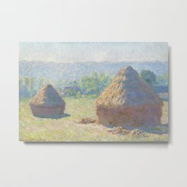 Haystacks, end of Summer by Claude Monet Metal Print