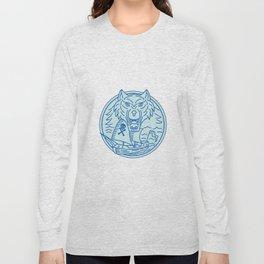 Seawolf Pirate Ship Circle Mono Line Long Sleeve T-shirt