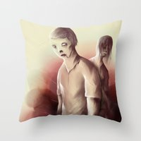 zombies Throw Pillows featuring Zombies by Jacques Marcotte