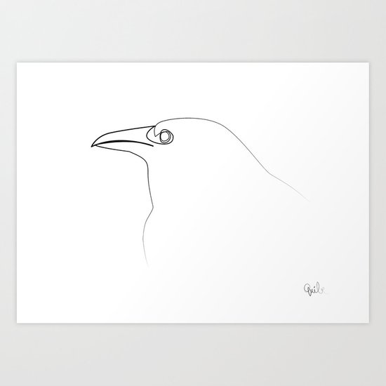 Single Line Art Print : One line crow art print by quibe society