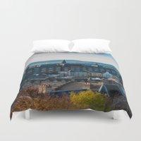 edinburgh Duvet Covers featuring Edinburgh Sunrise by Adrienne Page