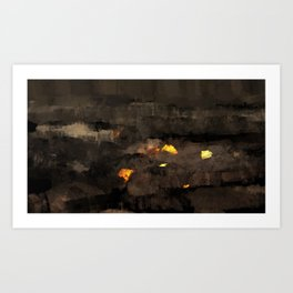 Abstract landscape nature texture lava fire geology digital illustration Art Print