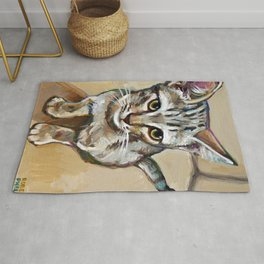 Tiger Striped Kitten Painting by Robert Phelps Rug