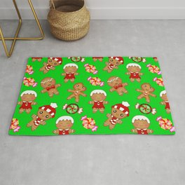 Cute festive green Christmas pattern. Happy gingerbread men and sweet xmas caramel chocolate candy Rug