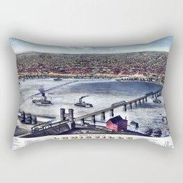 LOUISVILLE KENTUCKY city old map Father Day art print poster Rectangular Pillow