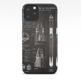 NASA SpaceX Crew Dragon Spacecraft & Falcon 9 Rocket Blueprint in High Resolution (black) iPhone Case