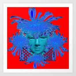 BOHEMIAN RED BLUE DECORATIVE ABSTRACT FACE ART Art Print