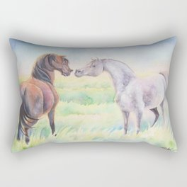 Horse Greeting In Wildflower Meadow Rectangular Pillow