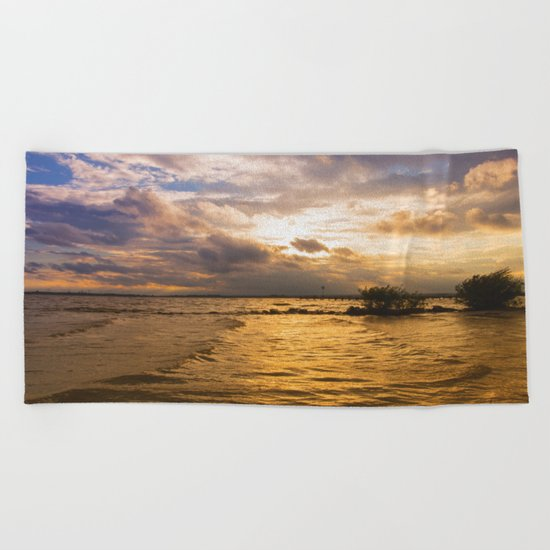 Weather over the lake Beach Towel