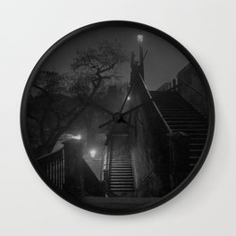 Paris After Midnight, cityscape black and white photograph / black and white photography Wall Clock