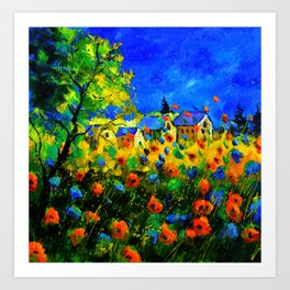 Blue and red poppies Art Print