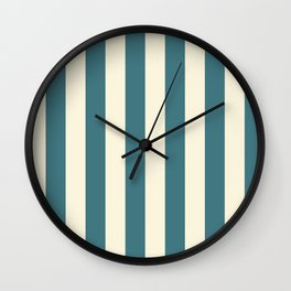 Blue-green and cream  vertical stripes Wall Clock