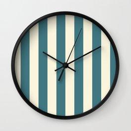 Blue-green and cream  vertical stripes Wall Clock