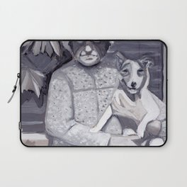 An Old Lady and Her Little Dog in Gouache Laptop Sleeve