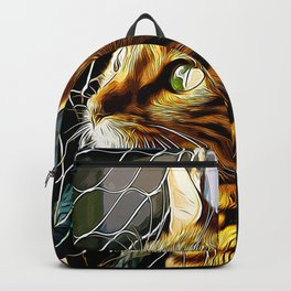 bengal cat yearns for freedom vector art Backpack