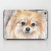 pomeranian iPad Cases featuring Pomeranian Watercolor Pom Painting by Olechka