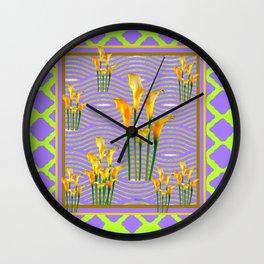 Lime Trellis Lilac Diamonds Calla Lilies Wall Clock