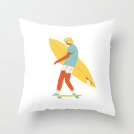Skater from 70s Throw Pillow