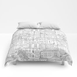 Doodle town pattern Comforters
