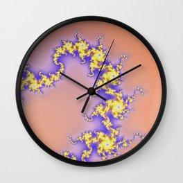 Golden fractal swirls Wall Clock