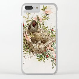 Vintage Bird with Eggs in Nest Clear iPhone Case