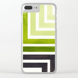 Sap Green Mid Century Modern Watercolor Colorful Ancient Aztec Art Pattern Minimalist Geometric Patt Clear iPhone Case