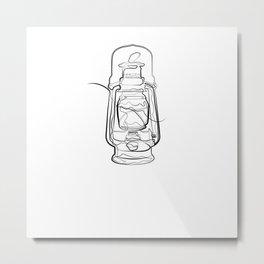 Oil Lamp - One Line Drawing Metal Print