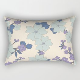 Flowers, Petals, Leaves, Blossoms - Blue Purple Rectangular Pillow