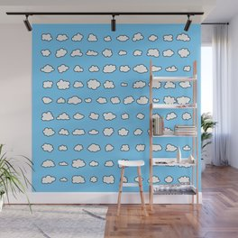 101 tiny fluffy clouds on blue sky - in rows Wall Mural