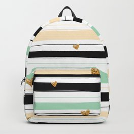 Handmade colorful stripes with gold hearts pattern Backpack