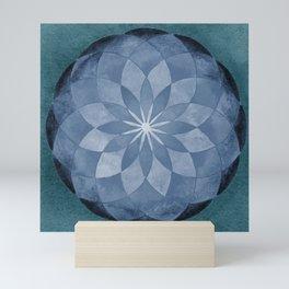 Watercolor Sacred Geometry Blue Flower Mandala Mini Art Print