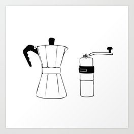 Coffee Tools: Moka Pot & Coffee Grinder Art Print