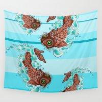 koi fish Wall Tapestries featuring Koi Fish   by David Michael Schmidt