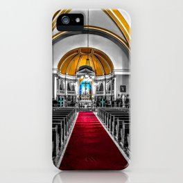 Inside Church Photograph Color/Black & White Mashup iPhone Case